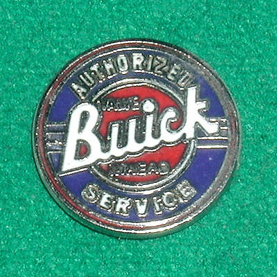 BUICK AUTHORIZED SERVICE Hat/Lapel PIN Old Valve-In-Head Logo Red/White/Blue EXC