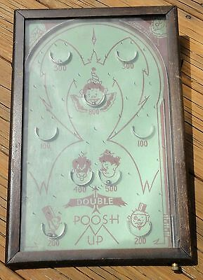 1930'S antique DOUBLE POOSH-M-UP CLOWNS PINBALL toy game FOLK ART works!