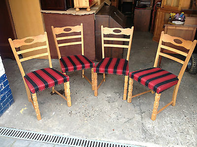 Set of 4 Continental Light Oak Ladder Back Dining Chairs