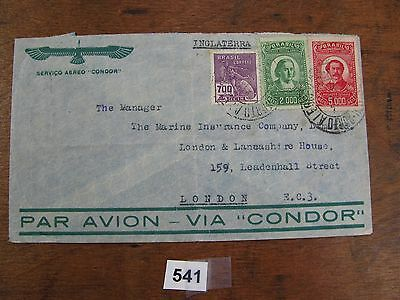 Airmail condor zeppelin postal history stamp cover Brasil to London 541