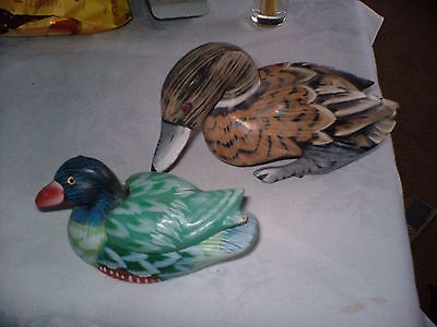 Two Lovely Studies Of Ducks One Is Terracota With Removeable Back Other Is Wood.