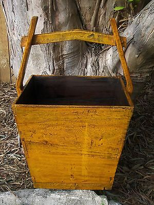 Vintage Asian Wood Rice Bucket with Handle Square Yellow Planter Box Large Size