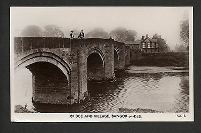 Bangor-on-Dee - Bridge and Village - real photographic postcard