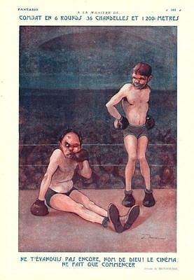 1922 ORIGINAL FRENCH ART DECO PRINT Boxing Match / Fight by MENDOUSSE (F5045)