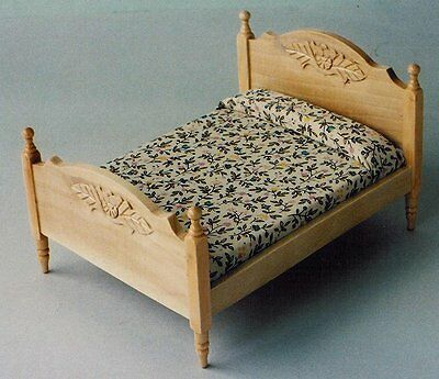 Dolls House Furniture: Light Wood Double Bed  in 12th scale
