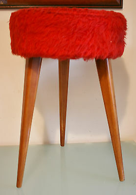 "1960's Retro French Round Stool with Red Fluffy Seat 3  Legs 19"" (48cm) Tall"