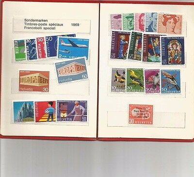 Mint 1969 Switzerland Annual Stamp Pack  In Red Folder - 24 Muh Stamps