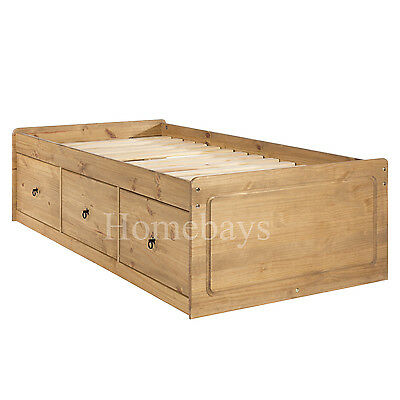 Corona Cabin Bed Frame Single Bed Solid Pine Cabin Bed With 3 Drawers Premium