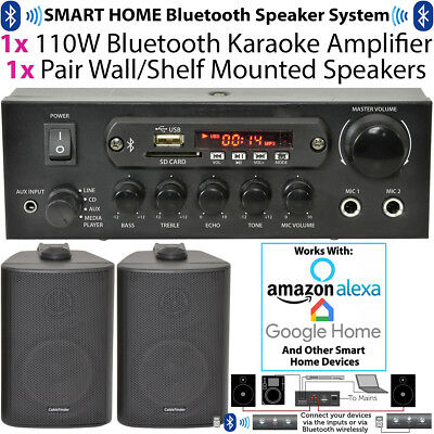 110W Bluetooth Amplifier & 2x Corner Wall Speakers –Compact Wireless HiFi TV Kit