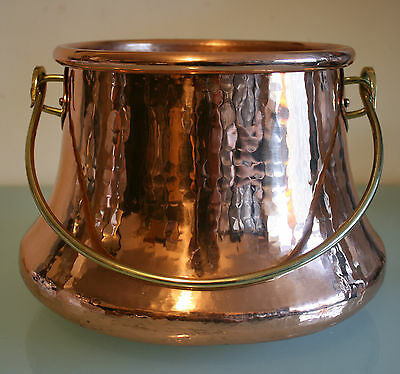 """Vintage French  Copper Hand-made Bucket with Handle 7"""" (18cm) Tall."""