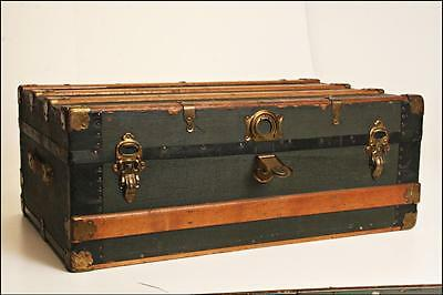 Vintage STEAMER TRUNK chest low coffee table base suitcase storage antique loft