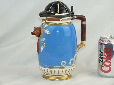 Victorian English Staffordshire Pottery Fox Hunting Jug And Cover