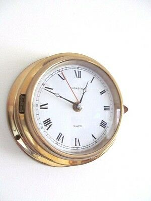SHIPS STYLE BRASS VINTAGE CLOCK GOOD WORKING ORDER 1970s