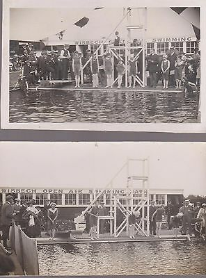 2 Vintage Cards Of The Open Air Swimming Pool, Wisbech