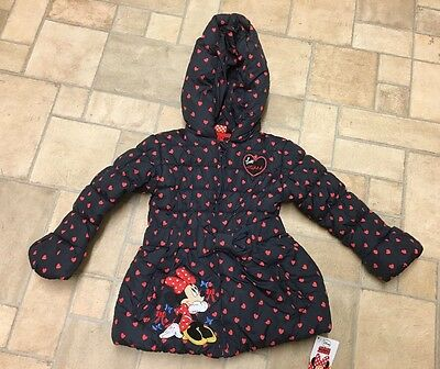 BNWT Girls Minnie Mouse Jacket Coat Hooded Puffa 4-5 Years 4 5 Black Red Hearts