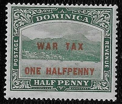 + 1916 Dominica View of Capital War Tax Surcharge #MR1 A6 1/2p on 1/2p MH unused