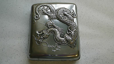 Antique Silver Japanese Cigarette Case Raised Dragon Relief Marked Kuhn & Komor
