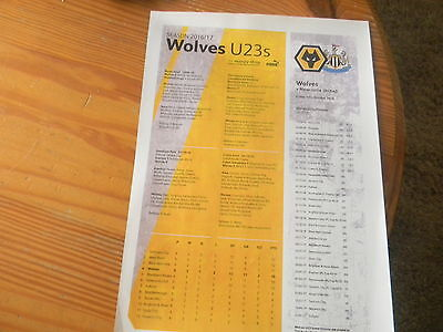 WOLVES UNDER 23s  v NEWCASTLE UNITED UNDER 23s 14/10/16