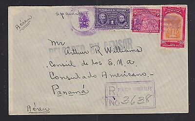 Panama 1942 Wwii Registered Censored Cover Puerto Armuelles To Panama City