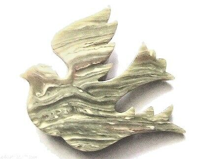 Lea Stein Vintage Brooch -Beautiful Dove Bird- Marbled Green -Made In France-New
