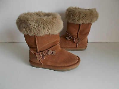 Girls NEXT Brown Suede Fur Top Warm Lined Boots Size 9 Infant