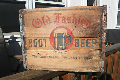Vintage Antique Ma's Old Fashion Root Beer Soda Crate Wood Advertising Box