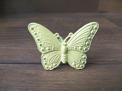 New Quaint Vintage-Look Yellow Metal Small Butterfly Knob Drawer Pull Handle