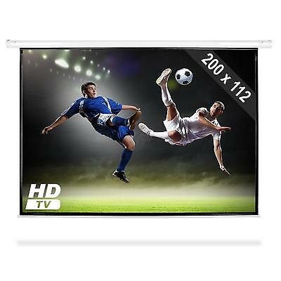 """Projector Screen Electric Home Cinema Beamer 200 X 112Cm 90"""" High Quality Office"""