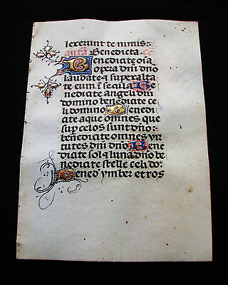 1410 Illuminated Medieval Vellum, AMAZING Latin Leaf from a Book of Hours...D08