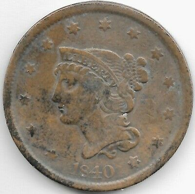 2 United States...1 Cent Liberty Head Large Cents...1840 & 1844 Fine