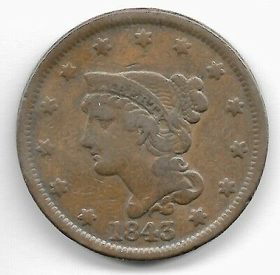 2 United States..1 Cent Liberty Head Large Cents...1843 & 1845 Fine Vf...cleaned
