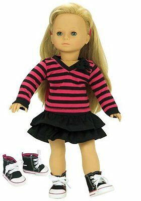 Fits American Girl Dolls 3pc Set of 18in Doll Clothing Fun Black/Hot Pink Stripe