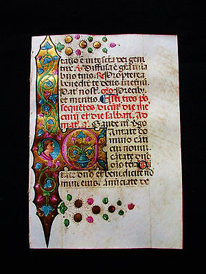 "1450 Medieval Vellum, Illuminated ""MINIATURE in GOLD"" from a Book of Hours...M01"