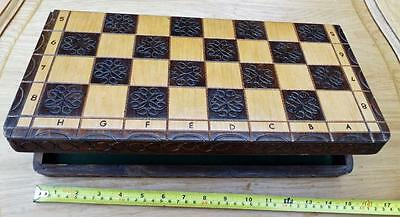 Wooden Fold Up Chess Board with Felt Inside. Games