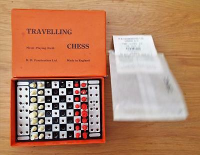 Vintage Travelling Chess with Metal Field with Instructions. Games