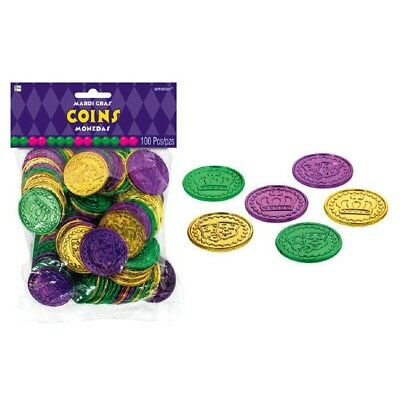 Mardi Gras 100 Plastic Coins Doubloons Pirate