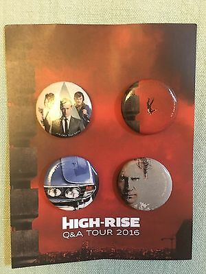 Set of 4 Carded Badges Promoting High-Rise Q&A 2016 Tom Hiddleston Sienna Miller