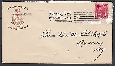 Usa 1904 Edison Hotel Cover Schenectady To Syracuse New York