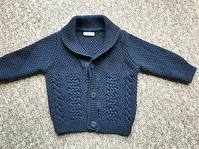 ~ NEXT Baby Boy Navy Knitted Cable Cardigan Button Up 3-6 ~