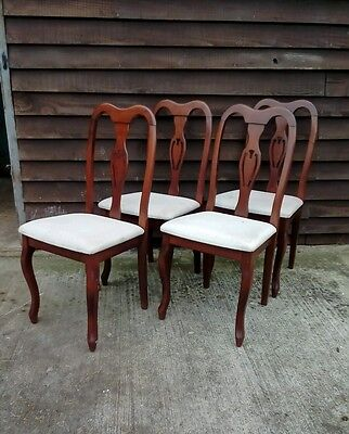 Set Of 4 Queen Anne Style Dining Chairs For Upcycle Shabby Chic Project