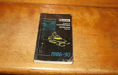 1986 - 1990 Snowmobile Specifications Booklet Bombardier Ski-Doo Manual