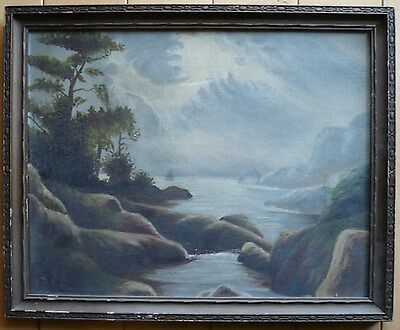 MYSTERY SIGNED INITIALS TM? ANTIQUE LANDSCAPE 1900s to 20s OLD OIL PAINTING BOAT