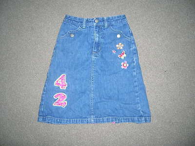 H&M Girls Embroidered Flowery Denim Skirt 4-5 Years
