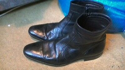 Russell&bromley Mens Black Leather Ankle Chelsea Boots Size 10
