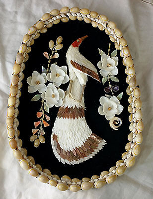 Vintage Peacock And Flowers Wall Hanging Picture Made From Real Seashells