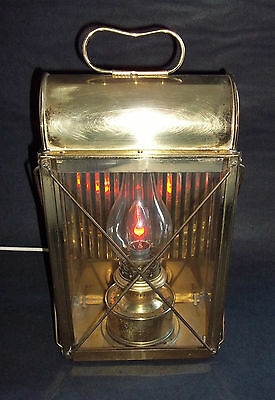 Vintage Large Brass Lantern Light, Wall / Freestanding Lamp, mains / plug power