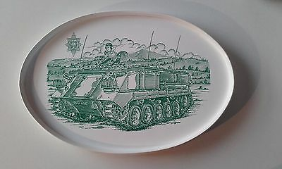 1980's Oval Melamine Tray Military Armoured Personnel Carrier Army Tank Vehicle