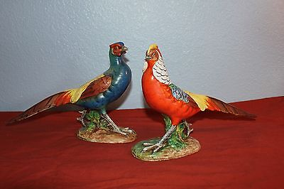 Vintage 1940/50's-Majolica PHEASANT FIGURINES-SIGNED-#623&625/1496-ITALY- 8&1/2""