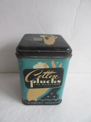 Vtg 50's Lithographed Manicure Tin COTTON PLUCKS Cleveland, OH Hand Graphics FUN