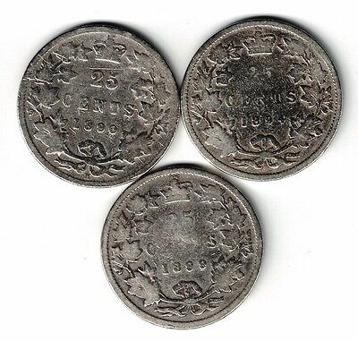 3 X Canada 25 Cents Quarters Victoria Sterling Silver Coin 1890H 1894 1899